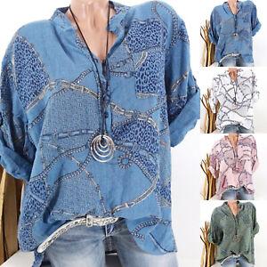 Womens-Floral-Print-V-Neck-Long-Sleeve-Tops-T-shirt-Loose-Blouse-Shirt-Plus-Size
