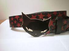 Gothic Emily The Strange Black Cat Belt Buckle on Black Belt Red Stars & Chain