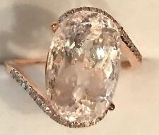 6.45CT! Natural Oval Cut Morganite & Real  Diamonds 14K Solid Rose Gold  Ring