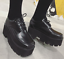 Womens-Retro-Square-Toe-High-Wedge-Platform-Muffins-Lace-Up-Club-Creepers-Shoes thumbnail 5