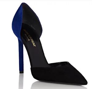 2f8d0125 Details about NWOB YSL Saint Laurent Anja Black and Blue Suede D'Orsay Pump  Heels Sz 37.5 $645