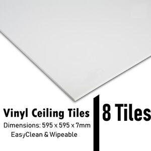 Suspended Vinyl Ceiling 8x Tiles 600x600 EasyClean Wipeable 595x595 Full Box