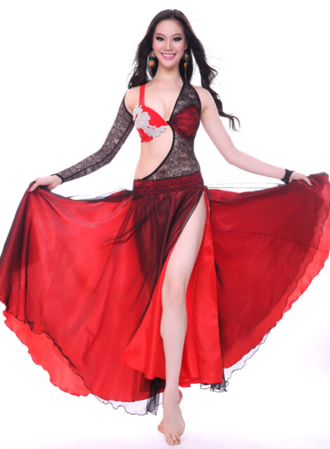 Belly Dance Costume 2 Pics Lace full set Bra&Skirt&Gloves 34B/C 36B/C 6 Colors