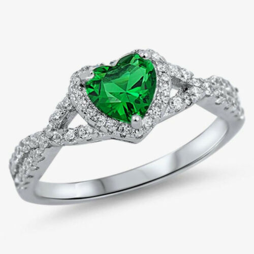 USA vendeur Infinity Coeur Anneau Argent Sterling 925 Bijoux Emerald CZ Taille 12