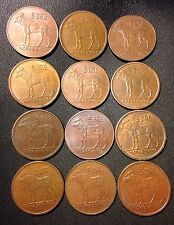 Vintage Norway Coin Lot - 5 Ore - MOOSE SERIES - 12 Great Coins - Lot #M20