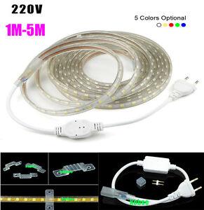 1M-20M Waterproof SMD 5050 LED Strip 220V 230V 60leds//m Flexible tape rope Light