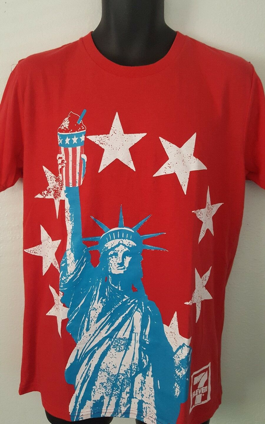 7-11 Slurpee Memorial Day 4th of July T Shirt Large Statue of Liberty America E2