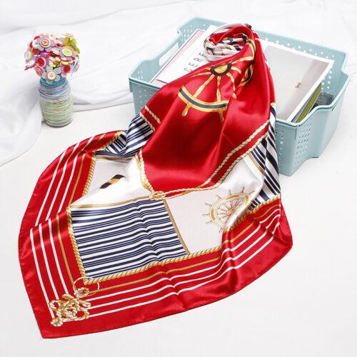 Women/'s Vintage Square Hijab Scarf Rudder Stripe Print Soft Satin Shawl 90*90cm