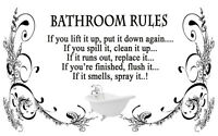 Black & White Bathroom Rules Quote Canvas Wall Art  Picture - A1, A2, A0 sizes