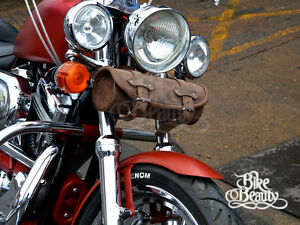 Image Is Loading Brown Leather Pouch Tool Roll Bag Harley Davidson