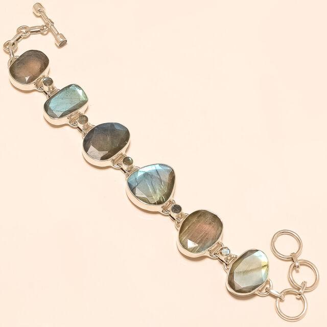 Labradorite bracelets Silver 925 Sterling Jewelry natural gemstone handmade