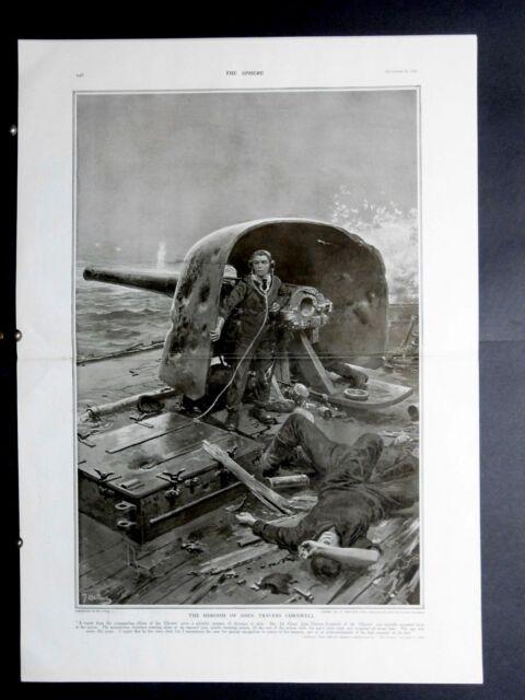 1916 The Sphere- Fortunino Matania Heroism of John Travers Cornwell,King Romania