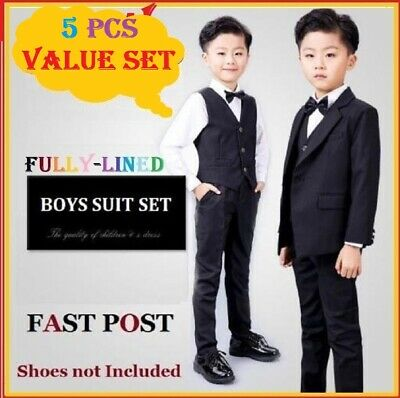 5 pcs fully lined Black Boys Formal Wedding Suits Set Size 2,3,4,5,6,8,10,12,14 | eBay
