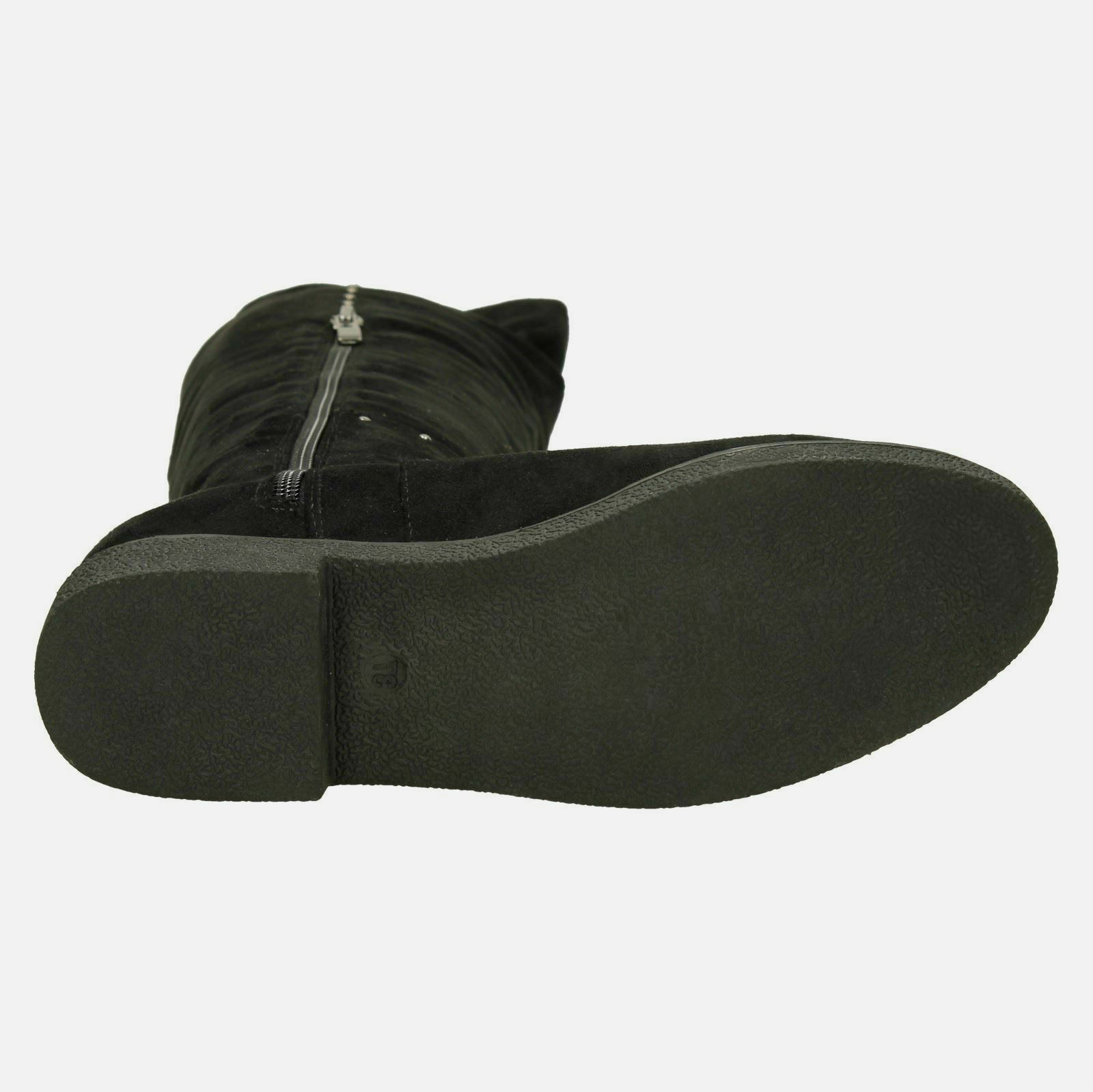 SPOT MICROFIBRE ON LADIES KNEE HIGH LONG PLAIN BLACK MICROFIBRE SPOT ZIP STUDDED BOOTS F50851 8ce455
