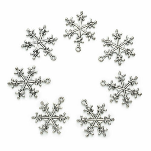 Antique Silver Charms For Jewelry Making Tibetan Alloy Snowflake Pendants