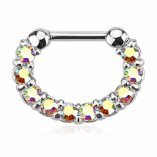 Tabique piercing clicker oreja joyas piercing anillo con cristales circonita
