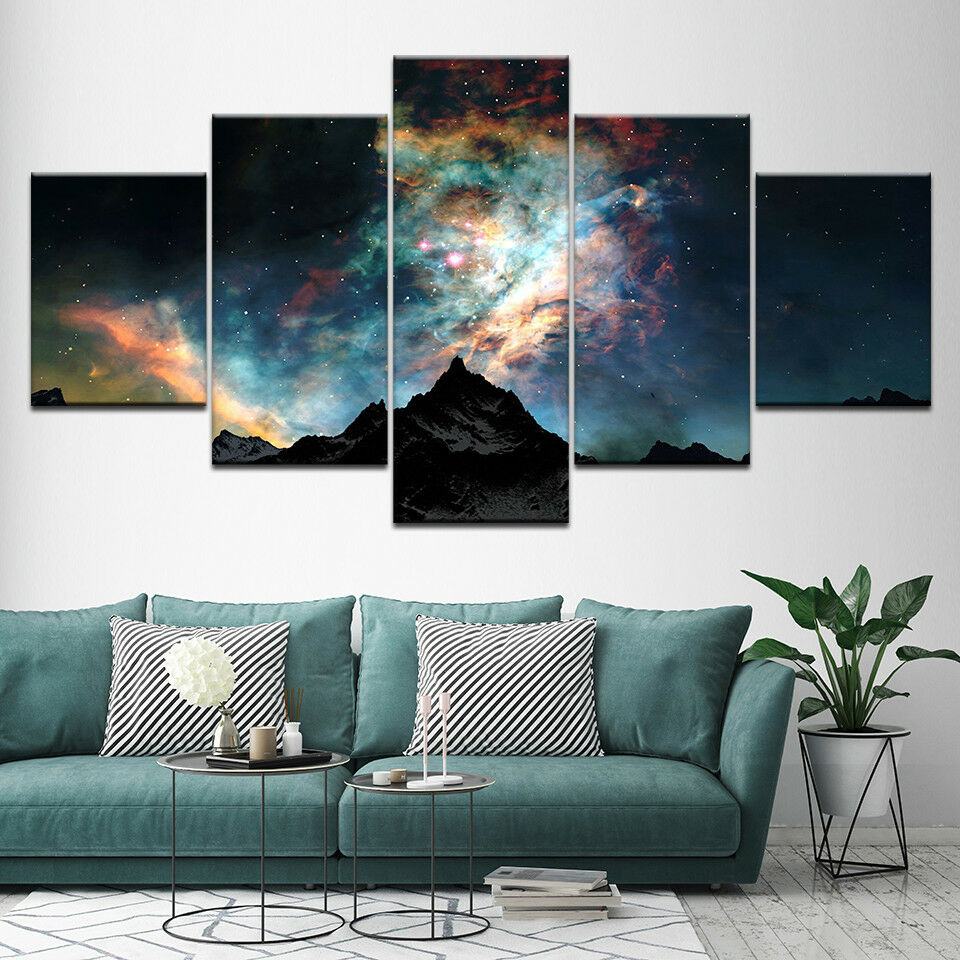 Mountains Starry Sky Milky Way 5 Panel Canvas Print Wall Art
