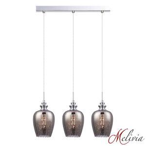 Lampe-suspendue-Luminaire-3x40w-58cm-verre-gris-etame-Plafonnier-Cristal