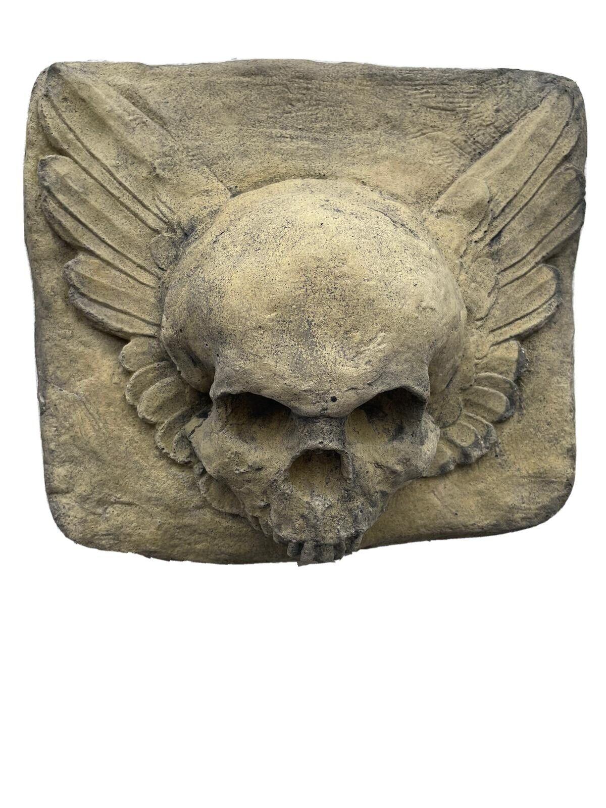 Winged Skull Wall Plaque gothic wall plaque stone Biker wall art 28cm x 23cm