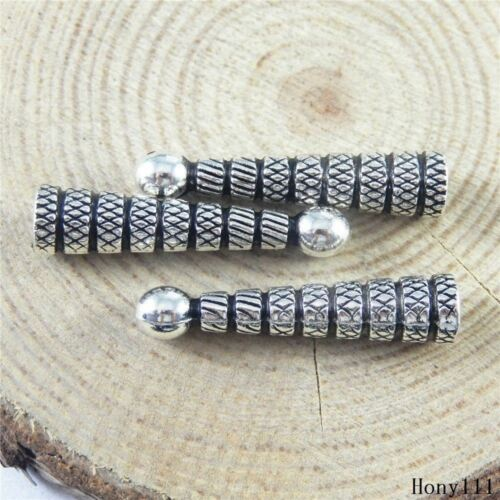 30x Vintage Silver Alloy Long Beads Caps Jewelry Accessories Finding Craft 51201