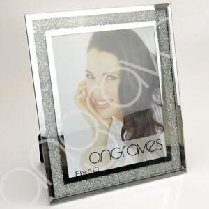 Image Is Loading Diamond Crushed Silver Mirror Photo Frame 8 X