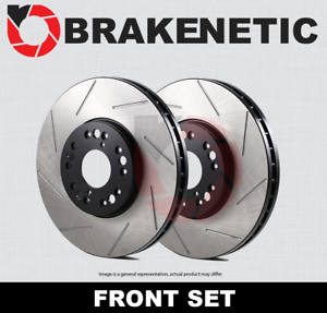 BRAKENETIC PREMIUM SLOTTED Brake Rotors TL w//BREMBO BNP40062.SS FRONT SET