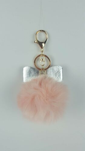 SPIRIUS Faux Fur Pompom Ball  Keyring with Bow Accessory Bag Car  Phone Pendant