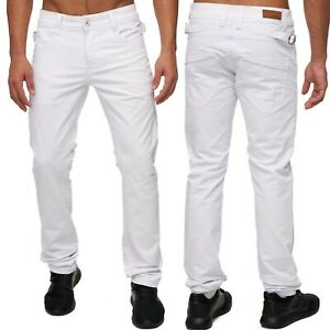 Hommes-Slim-Fit-Jeans-Pantalon-Blanc-five-pocket-Style-Buckle-Coupe-Droite-Jambe