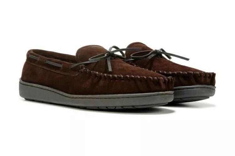 MINNETONKA Men's Original Trapper Suede Cozy Moccasin Slippers Chocolate Brown