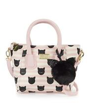 NWT BETSEY JOHNSON CUTE PINK KITTY CAT FACE CROSSBODY DOME SATCHEL HANDBAG PURSE