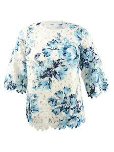Charter-Club-Women-039-s-Plus-Size-Floral-Print-Lace-Top