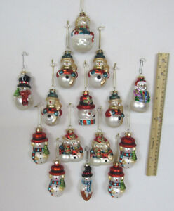 Lot Of 15 Vintage Glass Snowman Christmas Tree Ornaments 3 1 4 To 3 1 2 Tall Ebay