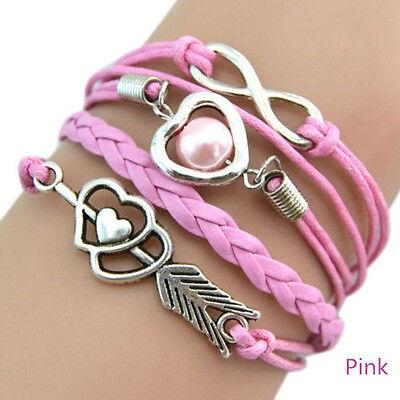Fashional Infinity Love Heart Friendship Antique Silver Leather  Charm  Bracelet
