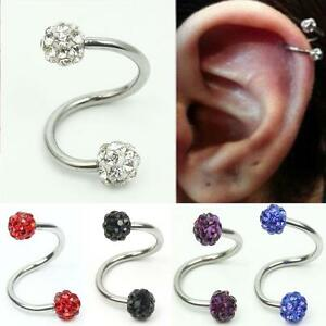 Image Is Loading 1pc Crystal Stainless Steel Twist Ear Helix Cartilage