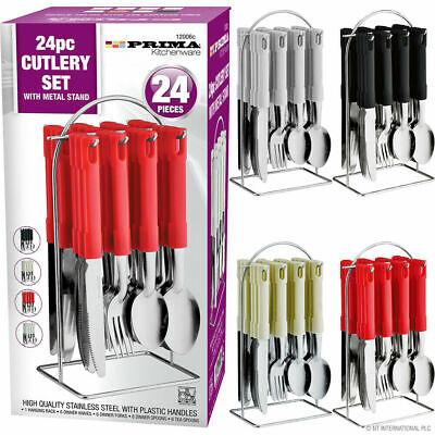 24PC STAINLESS STEEL CUTLERY DINNER SET METAL STAND RACK FORKS TEA SPOONS |  eBay