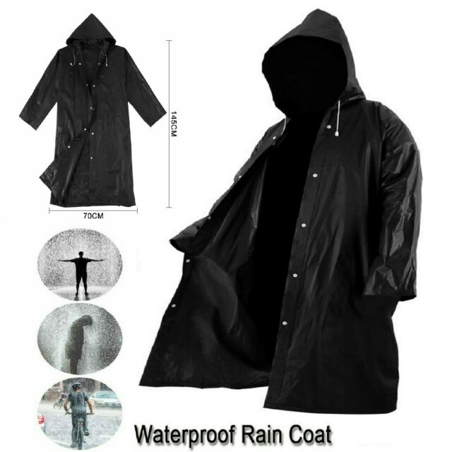 Men Outdoor Poncho Raincoat Outerwear Waterproof Jacket Hooded Long Sleeve Coats