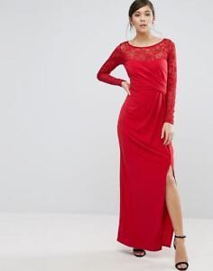 14 Coast Maxi pizzo Beverly rosso abito Red in taglia da di Nuovo sera Reeva 78xB7RT