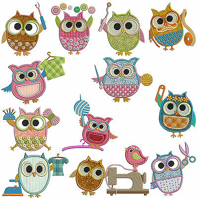 SWEET LITTLE  OWLS  LINEWORK 10 MACHINE EMBROIDERY DESIGNS CD 3 SIZES