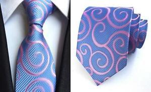 Bleu-Rose-Cravate-Soie-Leger-Homme-Floral-a-motifs-fait-main-100-Soie-Hommes-Cravate