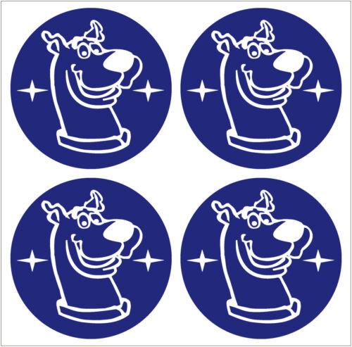 Scooby Doo Aleación Tapa Centro De Rueda Pegatina Cubierta X4 Azul Blanco 55mm