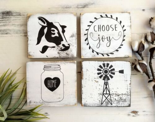 Farmhouse decor Buy one or all 4 White and black Signs 4 Farmhouse Signs