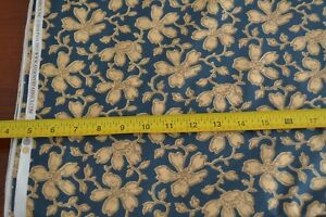 By-1-2-Yd-Tan-Floral-on-Blue-Quilting-Andover-Carolina-Morton-5311-B-M8608