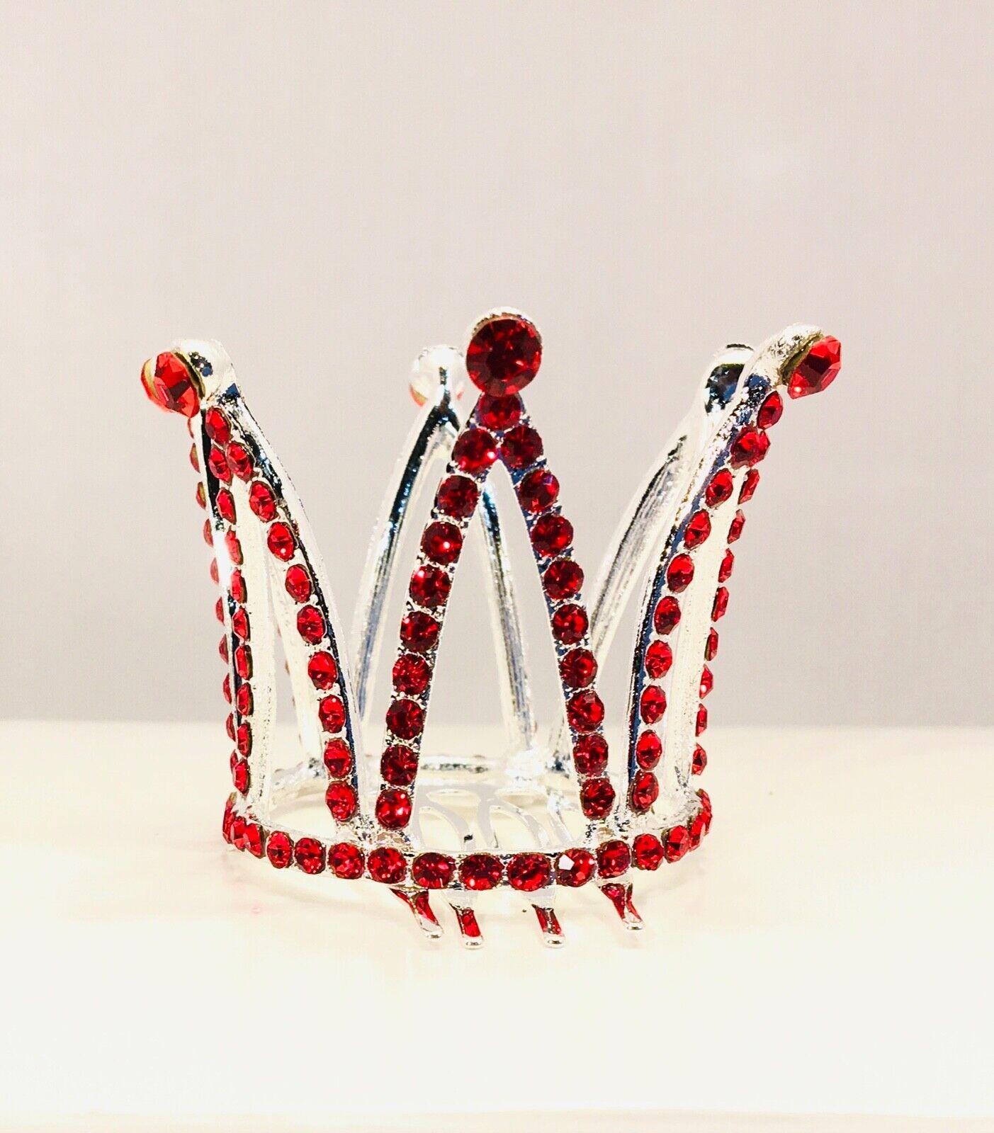 Mini Tiaras Hair Comb Crystal Red Rhinestone Wedding Small Crown Adults or Kids