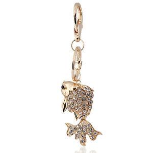 0c9d1d9e2c9 Details about Handbag Buckle Charms Accessories Crystal Gold Fish Keyrings  Key Chains HK38