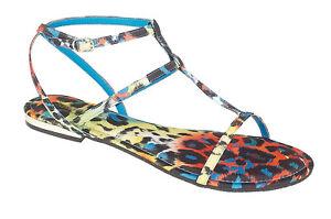 l6736 DONNA VERDE BLU Multicolore TESSUTO T Bar spalline Sandalo basso fibbia
