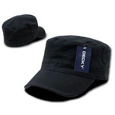 Black Military Cadet Flat Top Flex Baseball Cap Caps Hat Hats One Size Fits Most