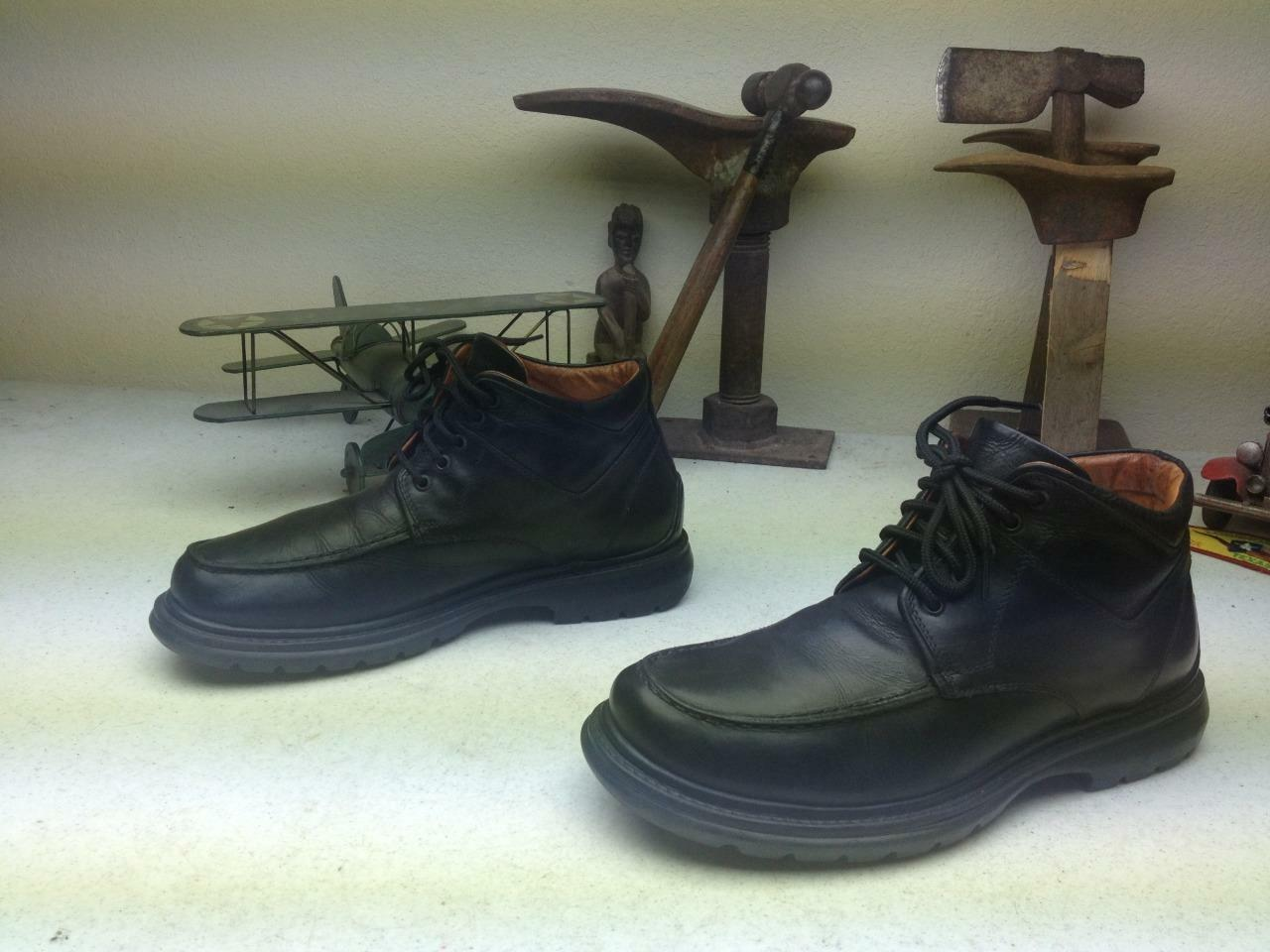 Hecho En Italia Johnston & Murphy De Cuero Negro Encaje arriba del tobillo Chukka botas 8 M