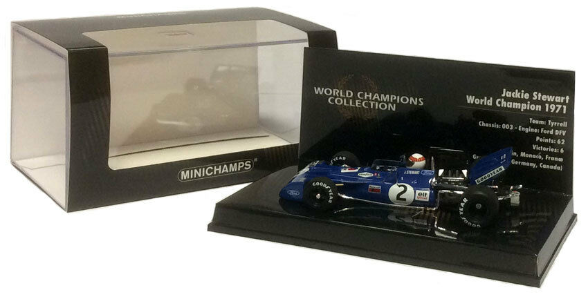 Minichamps Tyrrell 003 1971 Jackie Stewart F1. escala  campeón del mundo