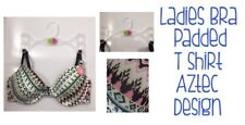 Womens Bra Aztec Design Padded Tshirt Bra Size 34C Brand New FREE DELIVERY