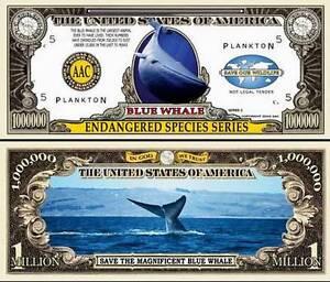 Shark Million Dollar Bill Fake Play Funny Money Novelty Note with FREE SLEEVE